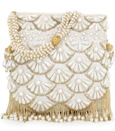 Anekaant Dangle White & Gold Faux Silk Embellished Potli