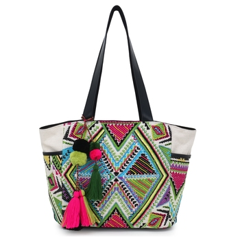 Anekaant  Natural & Multi Jacquard & Fabric Geometric Embellished Handbag
