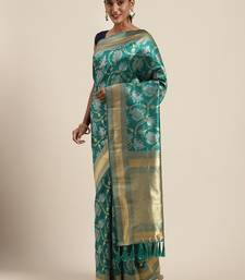 VASTRANAND Teal & Gold-Toned Silk Blend Woven Design Banarasi Saree