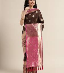 VASTRANAND Brown & Gold-Toned Silk Blend Woven Design Banarasi Saree