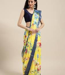 VASTRANAND Yellow & Pink Linen Blend Floral Printed Saree