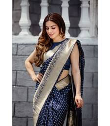 Shraddha Arya Designer Navy Blue Party Wear Silk Saree