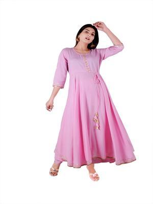 Pink plain rayon party-wear-kurtis