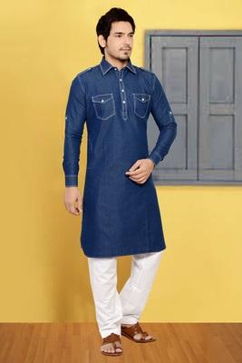 Blue denim pathani-suits