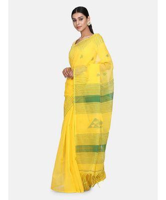 Yellow Triangle Design Hand Weaven Cotton Silk Handloom Saree With Blouse
