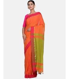 Rust Plain Work Khadi Cotton Handloom Saree With Blouse