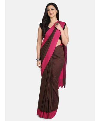 Chocolate Plain Work Khadi Cotton Handloom Saree With Blouse