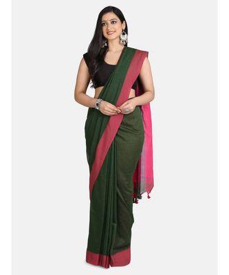 Bottle Green Plain Work Khadi Cotton Handloom Saree With Blouse