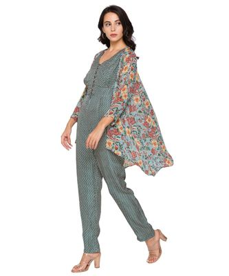 green  printed jumpsuit with loop buttons paired printed jacket