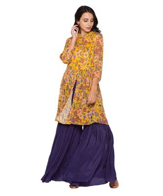 yellow  printed top with gathers paired with sharara pants