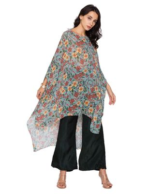 green  printed sequence kaftaan top with plazzo pants