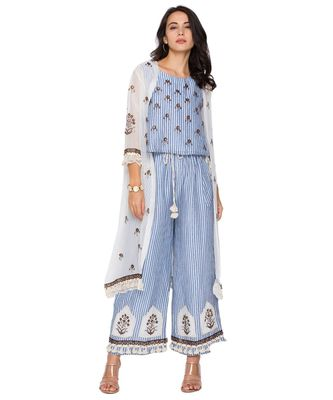 blue printed top with pants and organze jacket with leather cut work embroidery