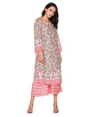 pink printed kurta with pants