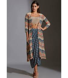 printed bustier with tassel detail paired with dhoti drape skirt and jacket