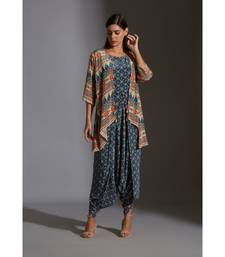 printed dhoti jumpsuit paired with printed jacket and tassel details