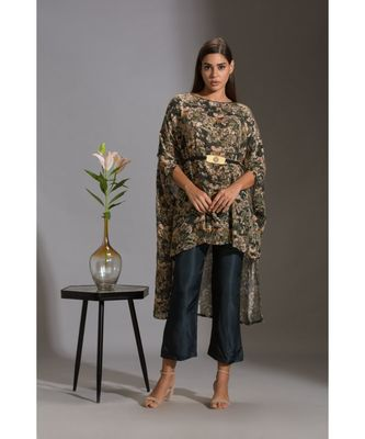 kaftaan printed sequence top with belt paired with bottle green pants