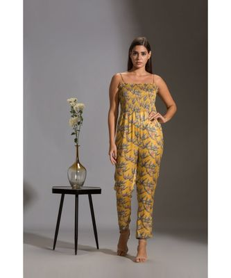 printed narrow bottom jumpsuit paired with chiffon collared jacket and rushed sleeves