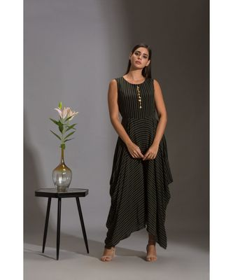 printed dhoti jumpsuit with tassel detail paired with sequence jacket