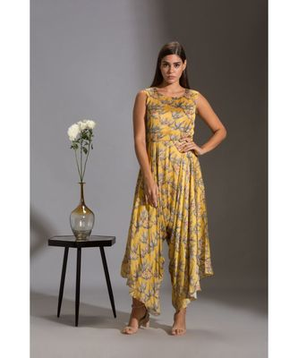 printed dhoti jumpsuit paired with asymmetrical jacket