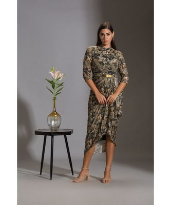 printed sequence drape dress with goldenbelt