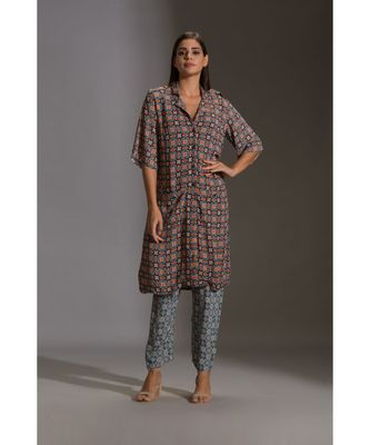 printed kurta with shoulder flap paired with printed narrow pants