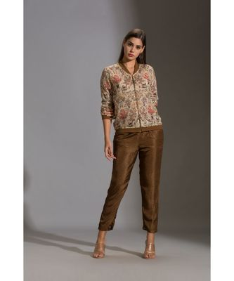 printed sequence jacket with zipper ad rib cuff paired with printed straight pants