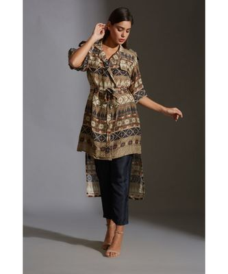 overlap printed jacket with bell sleeves paired with printed trousers