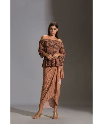 rushed offshoulder top paired with printed dhoti skurt