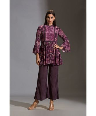 peplum printed top paired with printed pants