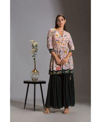 printed overlap kurta paired with sharara pants