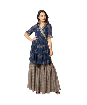 printed over lap top with gathers at waist and side tie up paired with printed sharara