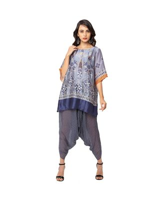 semi fitted top is paired with dhoti pants