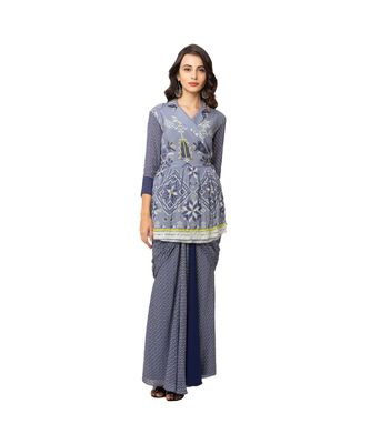 printed overlap jacket with collar and gathers at waist  is paired with saree drape skirt