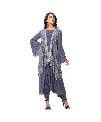 printed dhoti jumpsuit with bell sleeves is paired with sleeveless asymetrical jacket