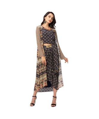 printed crop op with printed dhoti skirt which has belt detail is paired with printed organza jacket