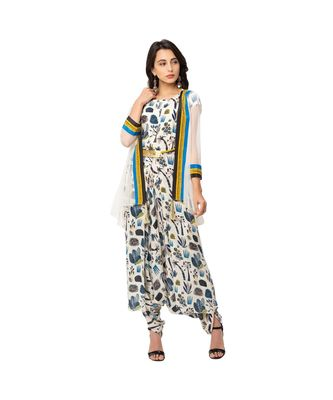 printed dhoti jumpsuit is paired with net jacket