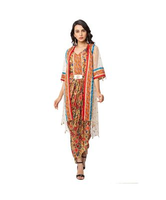 saree style dress with waist cuts and metal belt is paired with net jacket