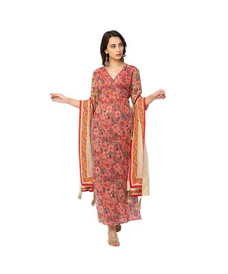 printed overlap kurta is paired with printed flared pats and dupatta