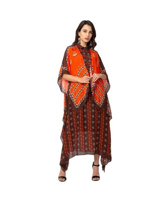 asyemtrical dress is paired with kaftaan jacket
