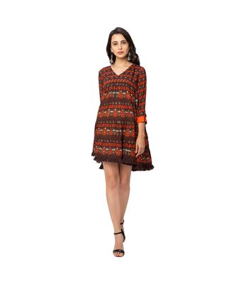 printed rushed short dress with v neck