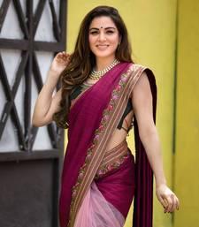 Shraddha Arya Designer Wine Embroidered Art silk saree with blouse