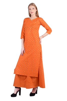 ORANGE cotton KURTA SET FOR WOMEN/GIRLS