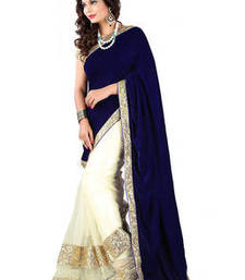 Buy BLUE HAVY EMBROIDERY VELVET SAREE WITH BLOUSE shimmer-saree online