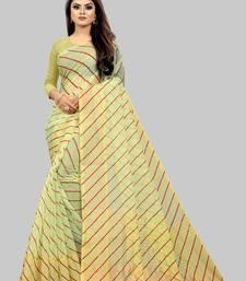 Vatudi Fashion Lehariya Supernet Banarsi Silk Saree Gajarin color for women