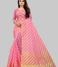 Vatudi Fashion Lehariya Supernet Banarsi Silk Saree Pink color for women