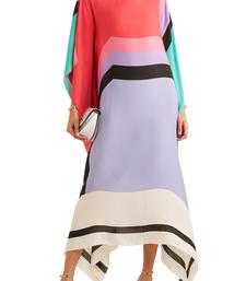 JSDC Printed Casual Wear Strip Printed Silk Crepe Kaftan For Women