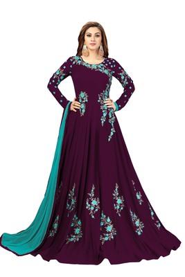 Ujjwal Creation Embroidery Party wear Faux Georgette Purple Anarkali Gown