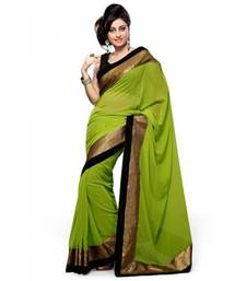 Buy GREEN BORDER GEORGETTE SAREE WITH BLOUSE shimmer-saree online