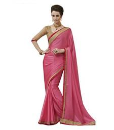 Buy PINK HAVY EMBROIDERY WITH STONE GEORGETTE SAREE WITH BLOUSE shimmer-saree online