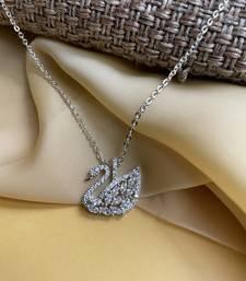White Swan Duck Lake Silver Pendant Chain